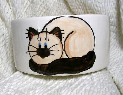 Siamese or Himalayan Cat Bowl 20 Oz. Med. Ceramic Dishwasher Safe Grace M. Smith