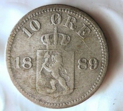 1889 NORWAY 10 ORE - VERY RARE - High Value Silver Coin - Lot #A13