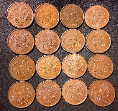 Vintage Norway Coin Lot - 2 Ore - MOOR HEN SERIES - 16 Great Coins - Lot #A13