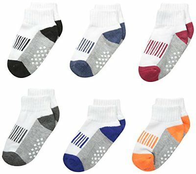 Jefferies Socks Boys' Sporty Half Cushion Quarter Socks 6 Pair Pack XS 6-11