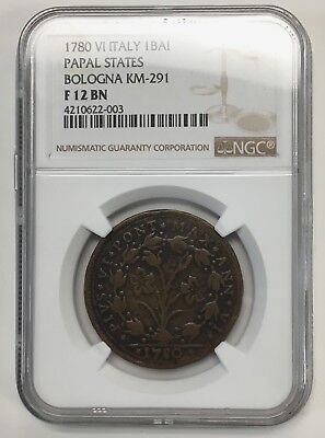 {BJSTAMPS} 1780 Italy Papal States Bologna 1 Baiocco KM-291 NGC F 12 BN