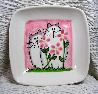 Cats & Pink Flowers Square Clay Dish Original Design Kiln Fired by Grace Smith