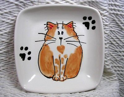 Ginger And White Cat With Heart On Square Clay Dish Original Handmade by Gracie