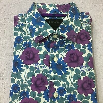 "Mens Floral Shirt DUCHAMP 16"" 41cm BLUE WHITE PURPLE Tailored Fit Button Cuff"