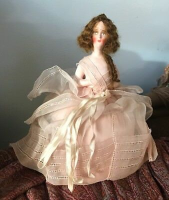 Art Deco German Boudoir half doll Pincushion Chalkware