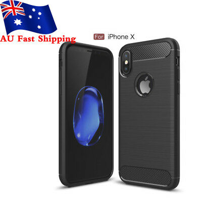 For iPhone X Case,Carbon Fiber TPU Protector Shockproof Rubber Bumper Cover