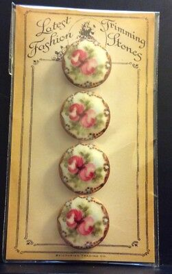 Set Of 4 Victorian Trading Company Pink Flowered Buttons
