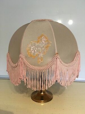 Vintage Pink Lamp Shade With Lace Fringe Dome Shape Scalloped Bottom