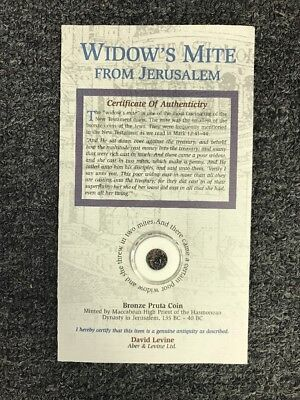 Widow's Mite Bronze Pruta Coin from Jerusalem with COA