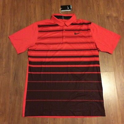 best service 2f1d7 677f8 Nike Men s Mobility Fade Stripe Crimson Golf Polo Size Large 802843-696  Size L