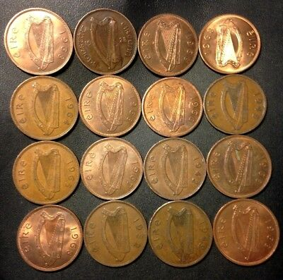 Old Ireland Coin Lot - 1928-1968 - 16 Excellent Large Pennies - Lot #A14