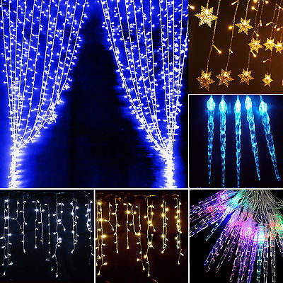 96 LED Icicle Snowflake Star Light Curtain String Fairy Light Xmas Wedding Party