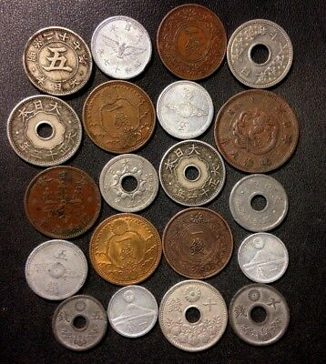 Vintage Japan Coin Lot  - 1886-1944 - 20 COINS - IMPERIAL COINS - Lot #A14