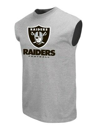 Oakland Raiders NFL Men's Gray Sleeveless Team Graphic T-Shirts: M-2XL