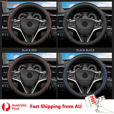 Luxury Car Real Leather Steering Wheel Cover 38cm Round Shape Auto Van Comfort