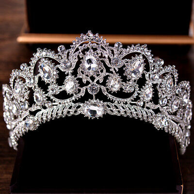 Crown, Tiara, Wedding Prom Queen Quinceanera Pageant Princess Rhinestone, Silver