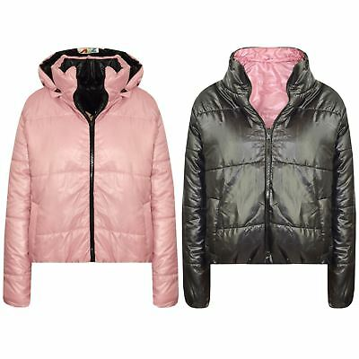 Kids Girls Jacket Baby Pink Hooded Padded Zipped Back To School Jacket Warm Coat