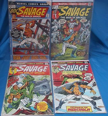 Marvel Comics Doc Savage Man Of Bronze Lot # 1 3 4 7 1973 + Bags & Boards
