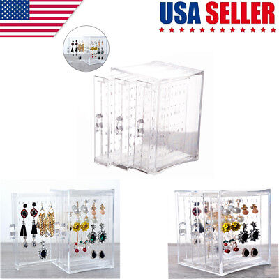 Acrylic Jewelry Storage Box Earring Display Stand Organizer Holder 3 Drawer