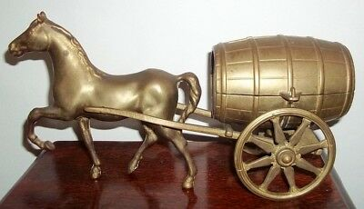 Vinatge Brass Horse with Money Box Barrell Wagon