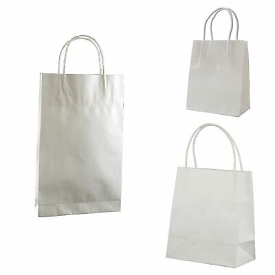 WHITE PAPER BAG WITH HANDLES 5 different Sizes - Eco Retail Shop Bags Recyclable