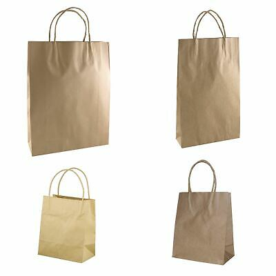 BROWN PAPER BAG WITH HANDLE 5 different Sizes - Eco Recyclable Bags Retail Shop