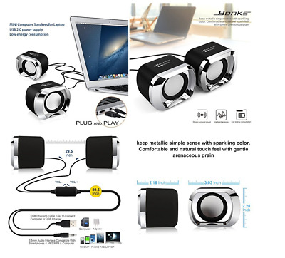 Computer Speakers Usb Powered for Laptop Multimedia Small Desktop Stereo Sound