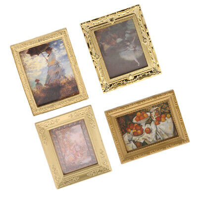 4pcs Miniature Dollhouse Framed Wall Painting 1:12 Dollhouse Accessories