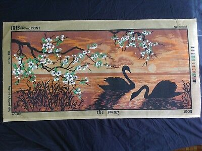 "VINTAGE Unworked IRIS TAPESTRY CANVAS Cotton ""THE SWAN"" SUNSET"