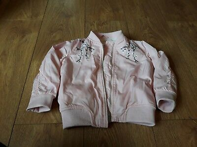 **girls Age 18-24 Months F&f Pink Bomber Jacket With Embroidery Flower Detail...