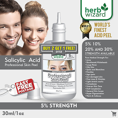 Salicylic Acid Bha Skin Peel - Acne Blackhead & Spot Treatment 5% 10% 20% 30%