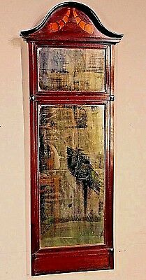 Tall French 1820's antique Empire Postman's MIRROR marquetry inlaid cherrywood