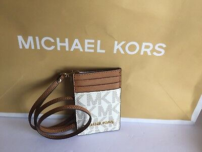 dd2c26d99d57 NWT MICHAEL KORS Jet Set Travel Leather Lanyard Id Card Case In Navy ...