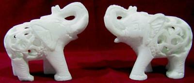 "Elephants Baby Inside Belly Carved White Marble 7.5 cm / 3"" Vintage 90s Set 2"