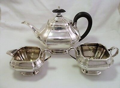 Good Quality Solid Silver Tea Set Sheffield 1900 Square Shape 640 Grammes
