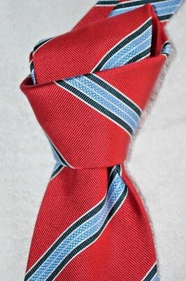 "$235 NWT BRIONI Red white Blue striped 3.6"" men's handmade woven silk tie ITALY"