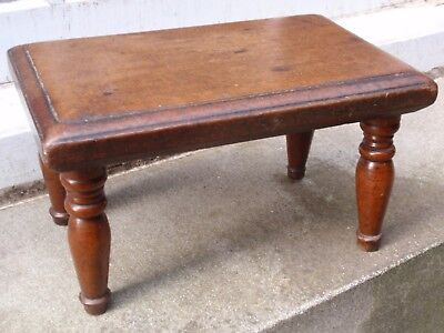 Antique Victorian Small Wood Wooden Stool On Turned Legs