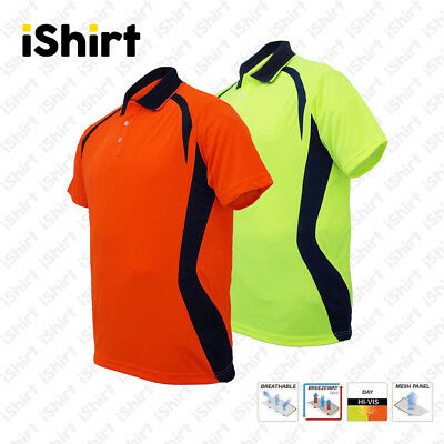 Hi Vis Polo Shirt Cooldry Breathable Contrast Panel Tradies Safety Workwear