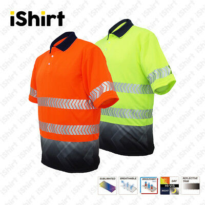 Hi Vis Polo Shirt Cooldry Breathable Sublimated Reflective Safety Workwear