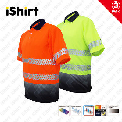 3X Hi Vis Polo Shirt Cooldry Breathable Sublimated Reflective Safety Workwear