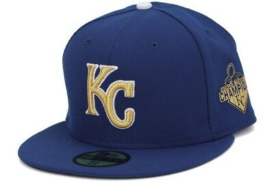 9dbf1ebb KANSAS CITY ROYALS On Field Fitted New Era 59fifty World Series Hat -6 3/4