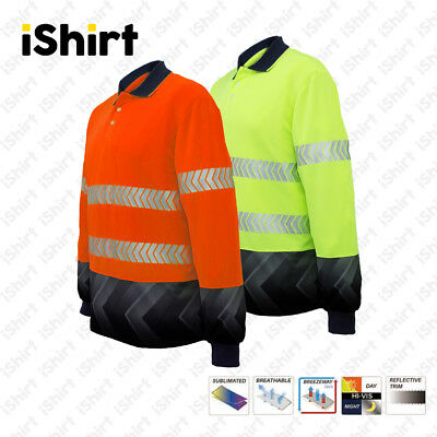 Hi Vis Polo Shirt Cooldry Breathable Sublimated Reflective Safety Workwear L/s