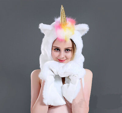 White Unicorn Faux Fur Animal Ears Hat Gloves Mittens Long Scarf Snood Hood Paws