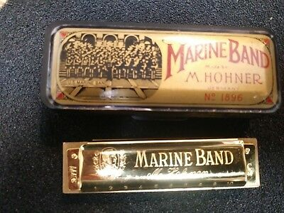 Vintage Harmonica,Hohner,Marine Band 1896 Limited Edition Gold,Key C, Excellent!
