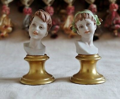 VINTAGE CAPODIMONTE ANTIQUE PIANO HALF DOLLS Pair Boy & Girl Bust Figurines