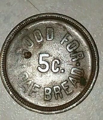 Rare Unger Wiltshire 5 Cent One  Loaf Of Bread Token Magnolia, Mississippi