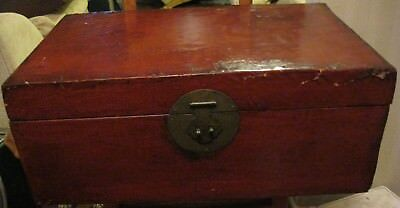 Antique Chinese Wooden Chest  Lacquered Pigskin 19th Century