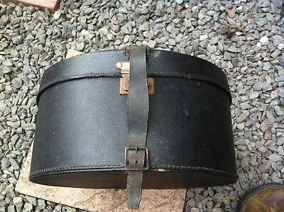 Antique hat box  with strap & buckle metal clasp fastening.