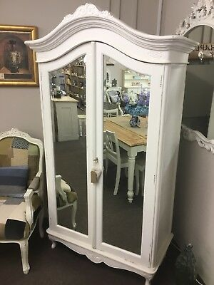 Gorgeous French painted mirrored double wardrobe