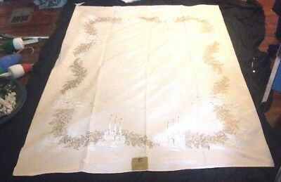 VTG Tablecloth California Hand Prints Monticello  Pink Plum Pasadena Cloth NOS